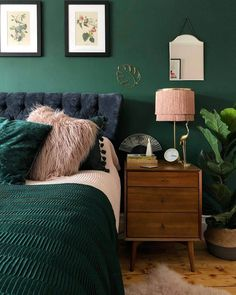 home decor bedroom Green Bedroom Color - Bedroom Color Ideas Green Bedroom Colors, Calming Bedroom Colors, Blue And Pink Bedroom, Colourful Bedroom, Green Paint Colors, Colorful Interiors, Pink Color, Home Decor Bedroom, Bedroom Ideas