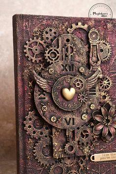 vintage – Page 15 – magdalena's attic Steampunk Book, Steampunk Crafts, Mixed Media Canvas, Mixed Media Art, Mix Media, Mixed Media Boxes, Art Ancien, Scrap Metal Art, Diy Arts And Crafts