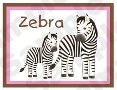 Jungle Zoo Nursery Baby Wall Border. This adorable wall border is outlined in Pink & Brown, but you may choose Blue & Brown for a boy. Graphics by Graphic Garden.