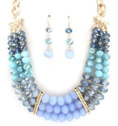 Crystal Anna Necklace in Cascading Blues on Emma Stine Limited Más Fashion Jewelry Necklaces, Fashion Earrings, Jewelry Sets, Beaded Jewelry, Jewelery, Jewelry Accessories, Handmade Jewelry, Jewelry Design, Jewelry Making