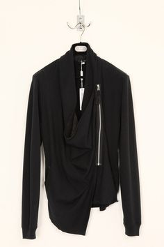 UNCONDITIONAL black asymetric drape sweat shirting jumper.