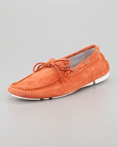 Suede Driving Shoe, Orange by Just Cavalli at Neiman Marcus.