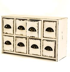 East2eden Antique White Style Wooden Table Top 8 Drawer Storage Unit Chest  W/ Metal Pulls
