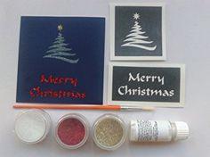 Christmas Greeting Card making set inc. 30 themed stencils + glitter + glue