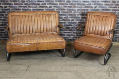I love the channel stitching. 1950s American car seat style furniture from Peppermill Antiques