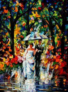 Wedding Under The Rain Painting Leonid Afremov