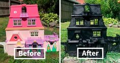 Mom Starts Upcycling Thrifted Plastic Dollhouses Into Spooky Mansions, And She's Absolutely Nailing It Pink Dollhouse, Haunted Dollhouse, Haunted Dolls, Wooden Dollhouse, Haunted Mansion, Halloween Doll, Holidays Halloween, Halloween Decorations, Fall Decorations