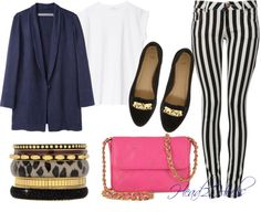 Black Stripes, White, Navy Blue, Pink, Gold, Animal Print Outfit