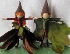 Waldorf Flower Fairy Doll - Halloween Witches - Deep Brown, Green Couple, ARt doll, bendy dolls, worry dolls, faerie