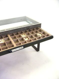 awesome letterpress drawer table. i've got one of those sitting