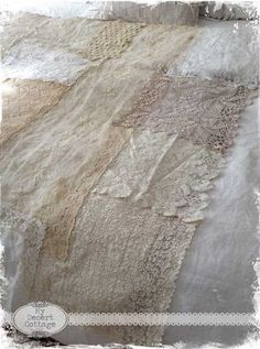 **My Desert Cottage**: What I did with all that Lace!  This is her curtain panel layer out but how about making it into a coverlet for bed?   Hmmmmm!