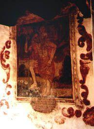 México: Oxtotipac, municipio de Otumba.  Ex-convento franciscano de San Nicolás de Oxtotipac: Pintura mural muy deteriorada, con inscripción en la parte baja del marco, que se encuentra en la planta alta subiendo desde el claustro.    Está a menos de 5 km de las pirámides de Teotihuacán.    Es obra de Salvador Cayetano en 1791.