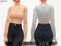 The Sims 4 Elliesimple - Cut Out Long Sleeve Sims 4 Mods Clothes, Sims 4 Cc Kids Clothing, Skin Tumblr, Vêtement Harris Tweed, Maxis, The Sims 4 Packs, Vetements Clothing, The Sims 4 Cabelos, Sims 4 Game Mods