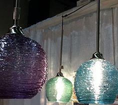 Large Hanging Art  Spun Glass Sphere Pendant Light by Rebecca Zhukov on Etsy, $450.00