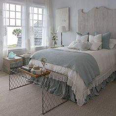 Love everything about this bedroom the white ruffled comforter the duck egg blue bed skirt the wooden headboard @homebunch  Tag your friend.  #shabbychicbedding #farmhouse #farmhousestyle #farmhousedecor  #cottagestyle #cottageliving #mycottageinstincts #farmhousechic #farmhousebedroom #farmhousebedding #projectvintage #rufflebedding #ruffles #ruffleswithlove #interiordecor #bedroomdecor #bedroominspiration #handmade #handmadebedding