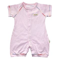 Baby Girls Boys Short Sleeve Snap Up Romper Onesies 100 Cotton Pure Color for Newborn Pink * You can find more details by visiting the image link.Note:It is affiliate link to Amazon.