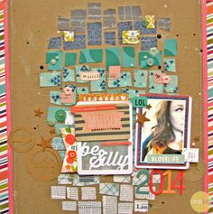 Selfie Obsessed, by Nicole Nowosad using the Pajama Time collection from www.cocoadaisy.com #cocoadaisy #scrapbooking #kitclub #layout #stitching #stamping #mosaic #ombre
