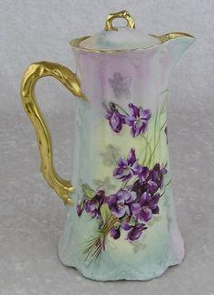 Antique Theodore Haviland Limoges France Porcelain Violets Coffee Chocolate Pot   eBay