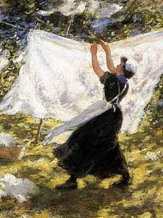 """Hanging the sheets... """"Girl in a White Bonnet"""" by Robert Gemmell Hutchison"""