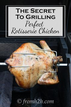 Rotisserie Chicken | Want to learn how to make rotisserie chicken on the grill? Click here to get the easy recipe and see how it's done without burning the skin.