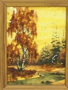 """Find many great new & used options and get the best deals for Old Picture Hand Painted Oil Painting Mosaic View River Trees 4.5""""x3.5"""" Decor at the best online prices at eBay! Free shipping for many products!"""
