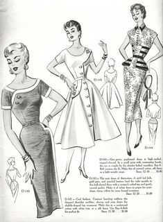 Modes Royale 1954 Transpasse com botão.Modes Royale What great detail.The vintage necklineslike the first dress - navy and white, maybe?