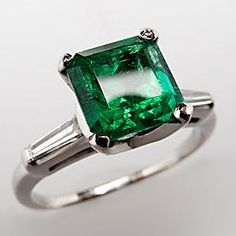 emerald rings engagement | Home 1.7 Carat Emerald & Diamond Engagement Ring Tapered Baguette ...