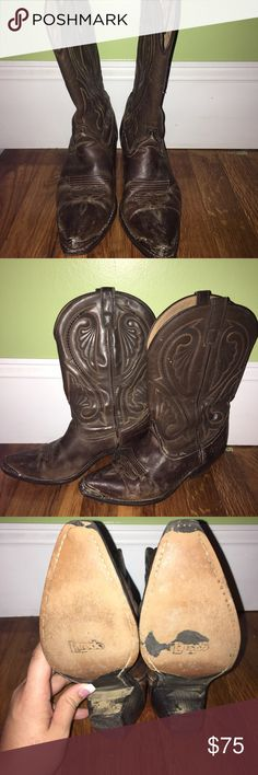 Laredo cowboy boots Beautiful cowboy boots.  Well worn, come with toe tips, in good condition.  Would be good for a first pair of boots! These have a little bit of a taller heel than most boots, about 2 1/4 inch heel. Laredo Shoes Combat & Moto Boots