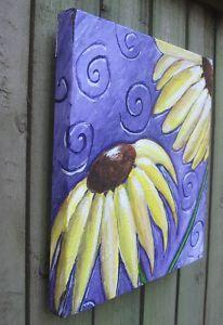 Sunflowers whimsical original painting still life flowers