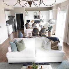 Repose Gray in open space, living room and kitchen. With white cabinets. Awesome!
