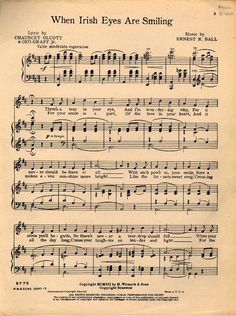 Sheet music, Copyright when Irish eyes smile – Game Day Quotes Smile Lyrics, Song Lyrics, Irish Quotes, Irish Sayings, Game Day Quotes, Sheet Music, Piano Music, Song Sheet, Irish Eyes Are Smiling