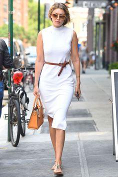 Mock turtleneck dress with a belt and flat sandals.