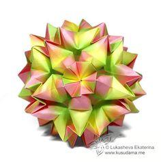Kusudama Me! - Modular Origami Tutorial Esempio-Merengue SI FINISCE GONFIANDOLO!!!!