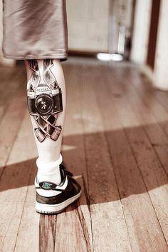 Camera Tattoo. this is amazing work i love this so much