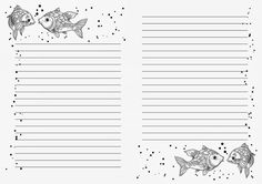 Fish Themed Note Pages Journal Paper, Journal Cards, Diy Stationery Set, Bullet Journal Weekly Layout, Cute Stationary, Notebook Paper, Planner Template, Writing Paper, Note Paper