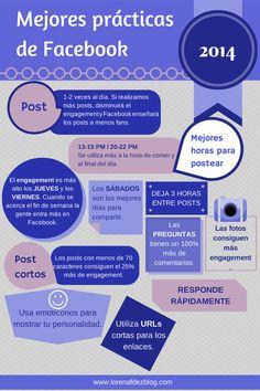 Las mejores practicas en Facebook #socialmedia #infografia Fiente: http://www.lorenafdezblog.com/cuales-son-las-mejores-practicas-en-facebook-en-2014/
