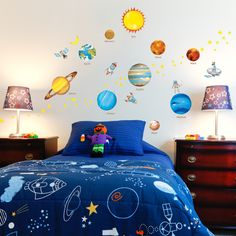 Kids Planets in Space Nursery Art Wall Decal Sticker Playroom Decor Boys Girls Nursery Wall Stickers, Wall Decal Sticker, Nursery Wall Art, Removable Wall Decals, Playroom Decor, Bedroom Themes, Furniture, Home Decor, Garden
