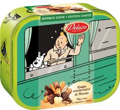 """Tea Time with Tintin and Delacre in 2013 Each time a theme is selected: For 2013, """"Tintin and the train"""" is honored. Le thème de Tintin et les trains sera mis à l'honneur. Het thema : Kuifje en trein. © Hergé / Moulinsart 2012 © Delacre 2012"""