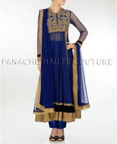 Charming blue net anarkali suit with trousers – Panache Haute Couture http://panachehautecouture.co.in/collections/mughal/products/charming-blue-net-anarkali-suit-with-trousers