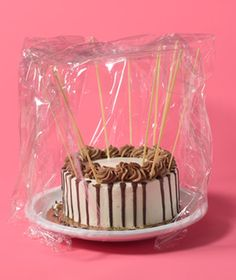When you don't have long enough toothpicks, although full length seems pretty extreme! Uncooked Spaghetti as Frosting Protector    Preserve a topnotch frosting job. Poke a few stiff pieces in the surface and sides of a dessert before wrapping it for easy transport.
