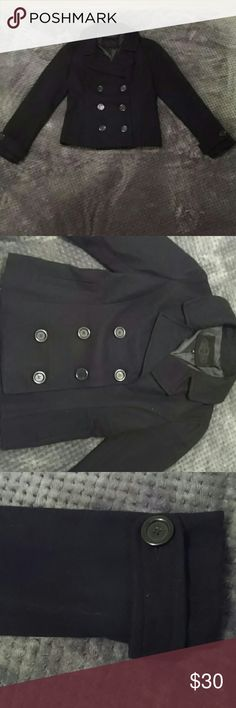 Black Peacoat Worn only twice, perfect short peacoat to wear out or keep you stylish and warm! Double button rows to close and super cute!! Bought at a boutique a few years ago and hope someone else can get more use out of it than I have! Size medium but more like a smaller/medium Jackets & Coats Pea Coats