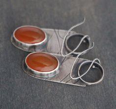 Orange Star Earrings Carnelian Sterling Silver by Emily Miller ArtistaTree LLC