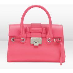 Jimmy Choo Rosalie S Geranium Grainy Calf Leather Handbag ($1,495) ❤ liked on Polyvore
