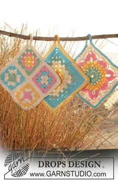 crochet pot holders with squares ~ DROPS Design