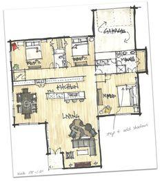 floor plan graphics Drawing Interior, Interior Design Sketches, Interior Rendering, Home Design, Home Interior Design, Floor Plan Sketch, Plan Drawing, Architecture Plan, House Floor Plans
