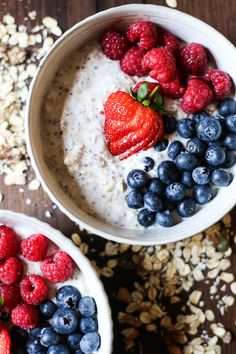 Bircher Museli mix with fruit, coconut, and seeds