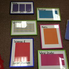 cheap frames + scrapbook paper = dry erasable objective boards