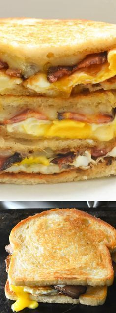 These Bacon and Egg Grilled Cheese Breakfast Sandwiches from Serena Bakes Simply From Scratch make the perfect Saturday morning breakfast for your family. (Baking Eggs For Sandwiches) Morning Breakfast, What's For Breakfast, Mexican Breakfast, Breakfast Pizza, Breakfast Pictures, Breakfast Dishes, Breakfast Recipes, Comida Latina, Tostadas
