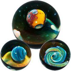 "Gateson Recko 1 1/2"" 'Spiral Galaxy Nebula Universe' Boro Art Glass Marble #BoroArtGlassMarble"