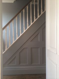 stair trim ideas staircase wainscoting design pictures remodel decor and ideas Stairs Trim, Stair Paneling, Panelling, Painted Staircases, Painted Stairs, Banister Remodel, Stair Spindles, Banisters, Victorian Hallway